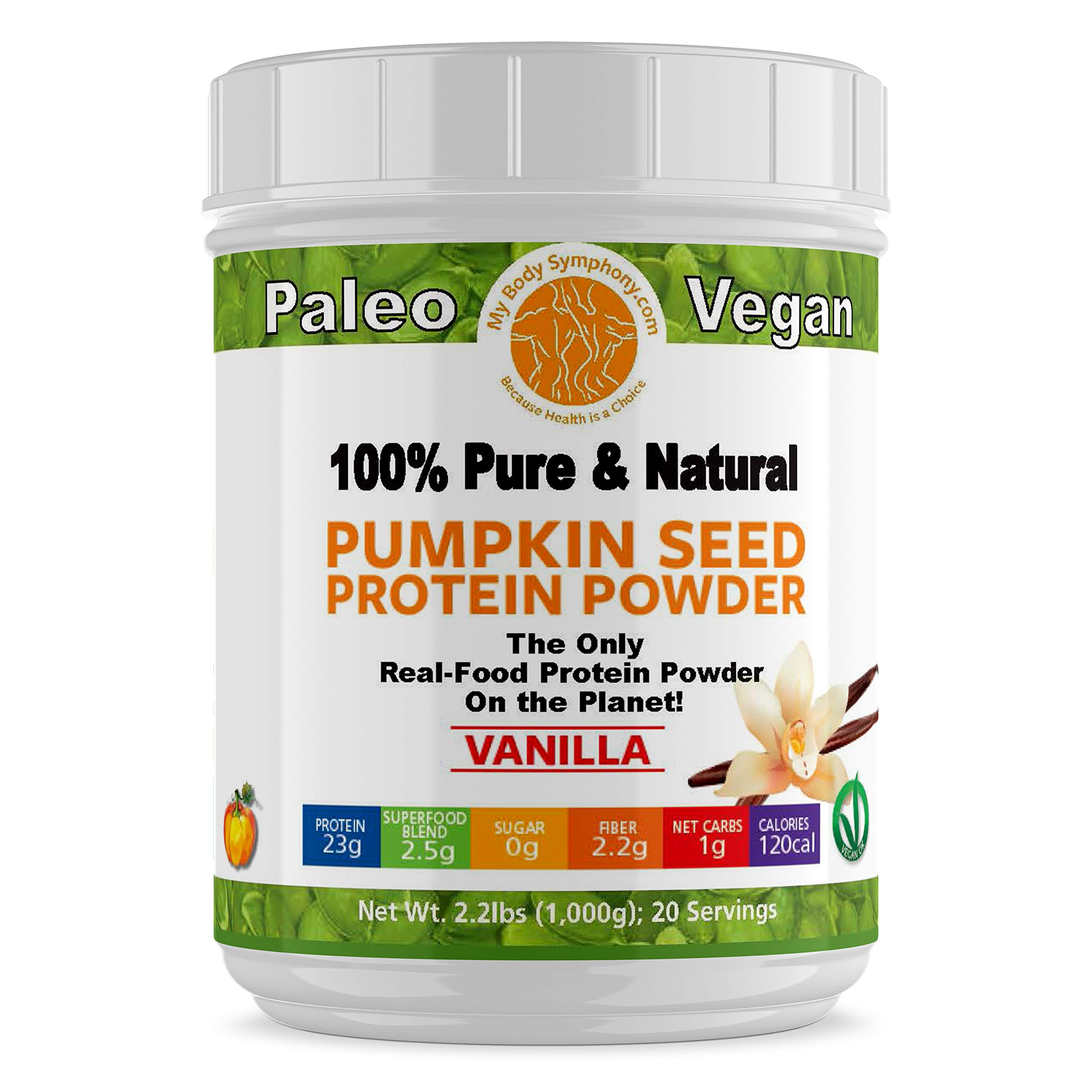 Pumpkin Seed Protein Powder | Vanilla Flaor | 100% Pure and Natural, Raw Superfood, Cold Pressed, Non-GMO & Gluten Free | Vegan, Paleo and Keto Shakes Friendly - 2.20 lbs 20 Servings by MyBodySymphony.com