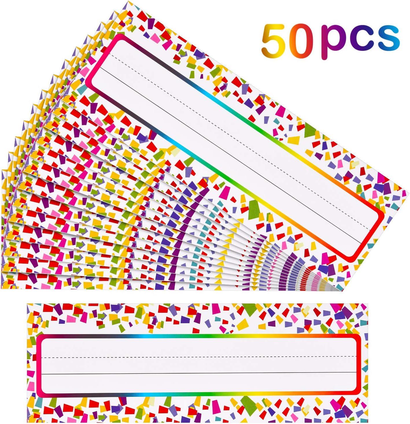 50 Pieces Self Adhesive Confetti Desk Name Plates Traditional ...