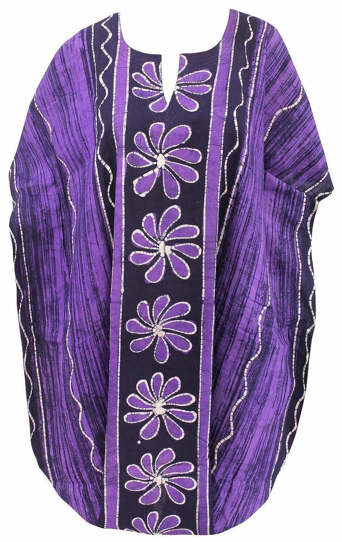La Leela reiner Baumwolle Frauen Sommerkleid kurz Bademode verschleiern Kaftan lila