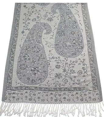 CJ Apparel Gris Argent Jammu Design 2 Ply Châle réversible Pashmina Écharpe  Wrap Étole Secondes 02b022b1a4b