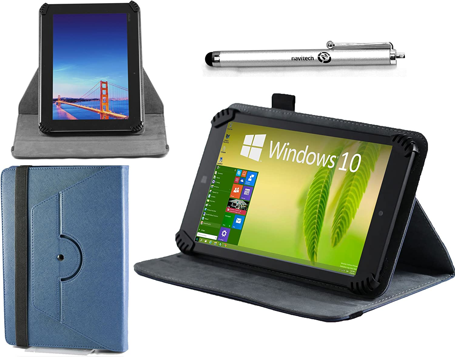 """Navitech 7"""" Blue Leather Book Style Folio Case/Cover & Stylus Pen Compatible with The Dell Venue 7 / LG G Pad 7.0"""