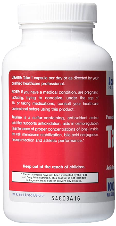 Jarrow Formulas, Taurina - 1000mg x100tabs: Amazon.es: Salud y cuidado personal