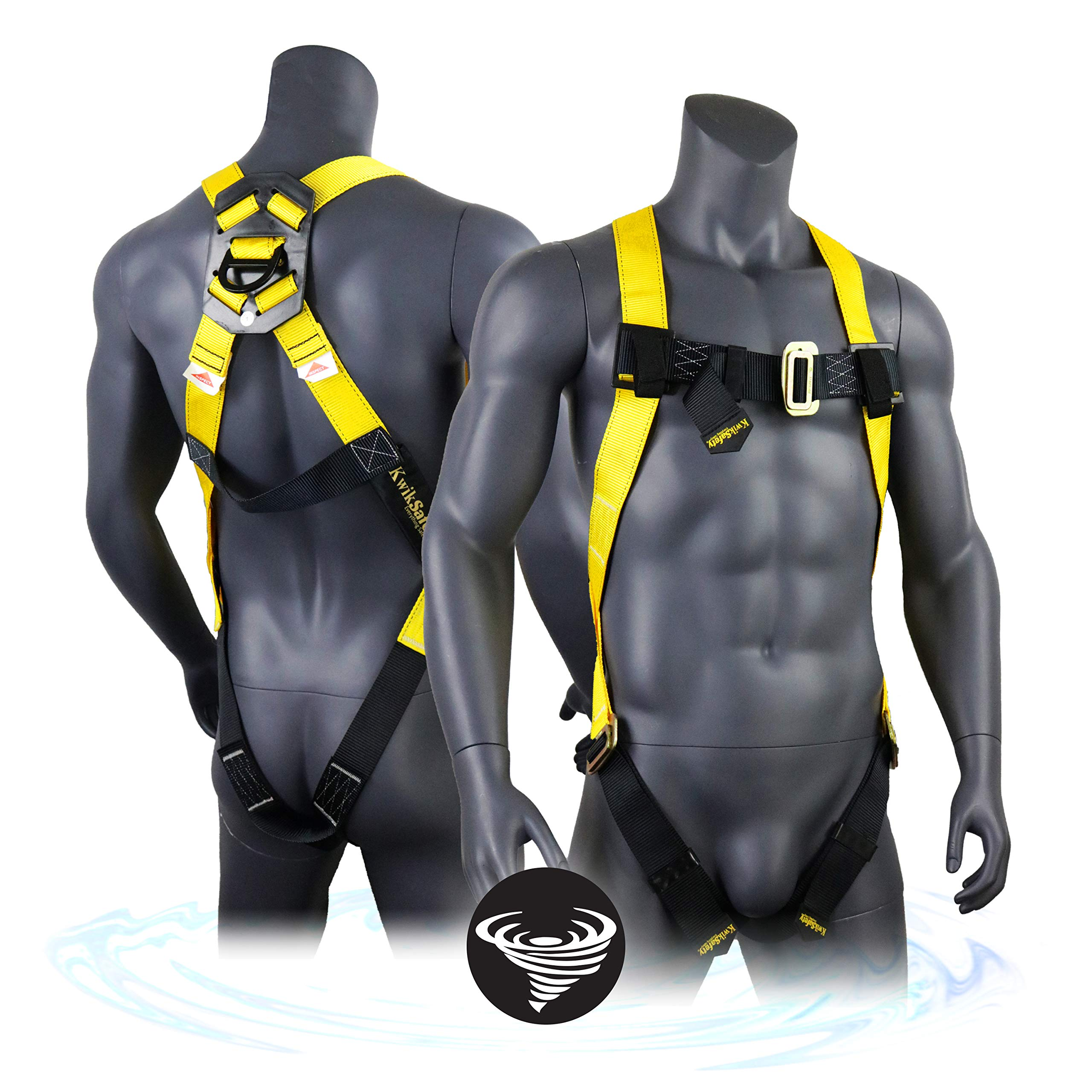 KwikSafety (Charlotte, NC) TORNADO 1D Fall Protection Full Body Safety Harness | OSHA ANSI Industrial Roofing Tool Personal Protection Equipment | Construction Carpenter Scaffolding Contractor by KwikSafety