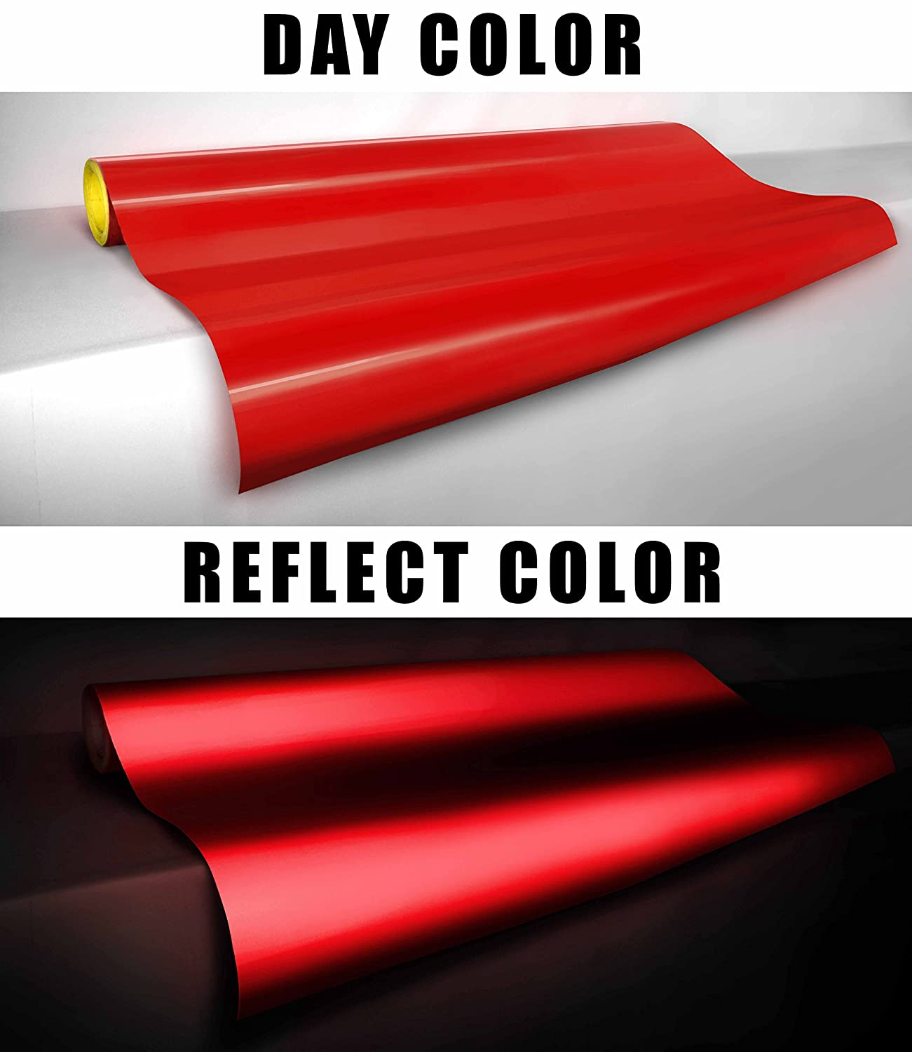 2ft x 48 VViViD Reflective Gloss Red Vinyl Car Wrap Film DIY Roll Easy to Install No-Mess Decal