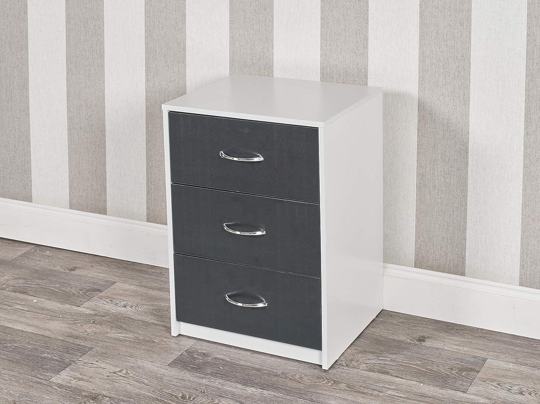 URBNLIVING 3 Drawer Wooden Bedroom Bedside Cabinet (White Carcass + Black  Drawers)