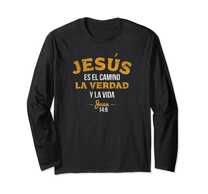 Unisex Long Sleeve Christian Shirts in Spanish   Camisa Cristiana Small Black