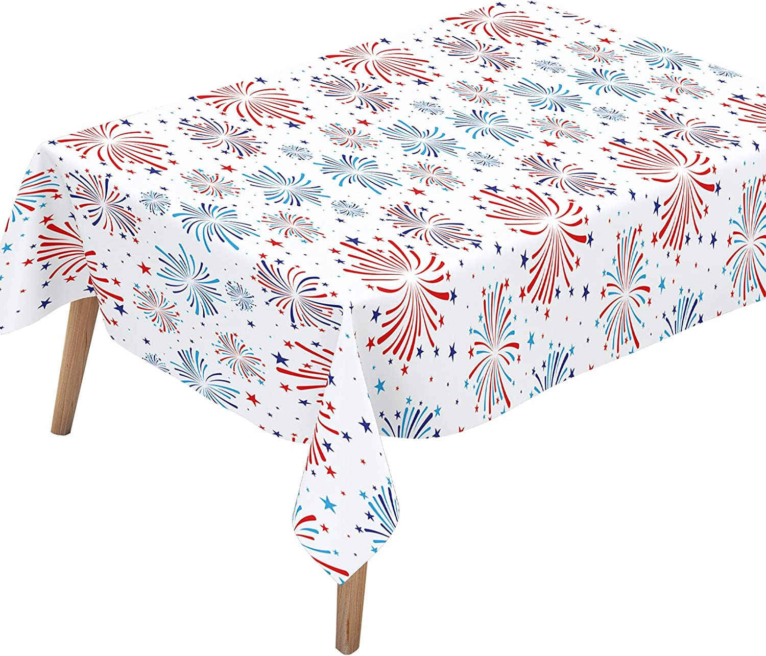 Dazonge Pack of 2 Patriotic Burst Tablecloth 54''x110'', Plastic 4th of July Table Cloths/Covers for Party Supplies, 4th of July Decor for Memorial Day, Independence Day or Any Patriotic Events