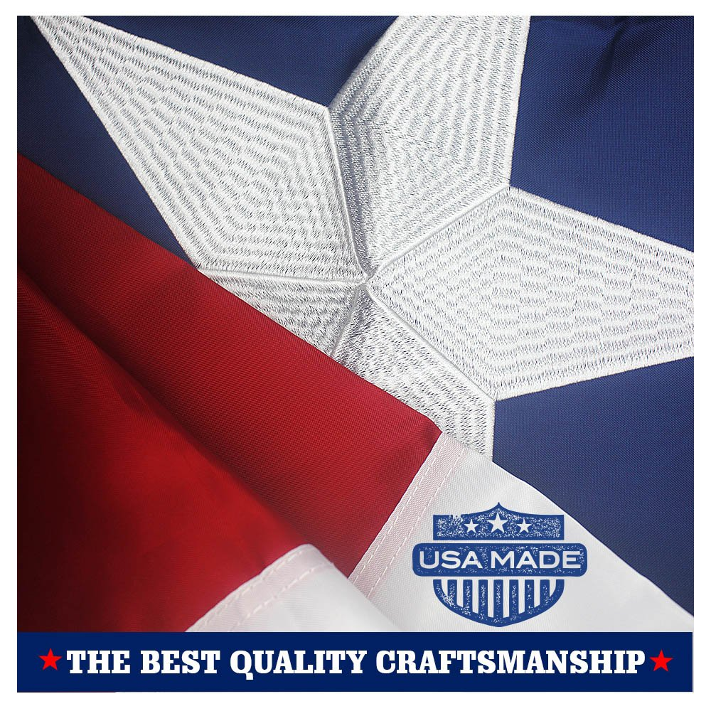 VSVO Texas State Flag 3x5 Ft - 100% US Made - with Embroidered Stars, Sewn Stripes and Heavy Duty Long Lasting Nylon, UV Protected, 3 by 5 US Texas Flag