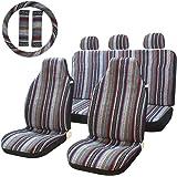 10pc Stripe Multi Color Seat Cover Baja Saddle Blanket Weave Universal Bucket Fit