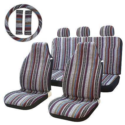 10pc rayas multicolor funda de asiento baja sillín asiento Universal de tejido de manta para funda para coches, camiones, SUV y Furgonetas con volante ...