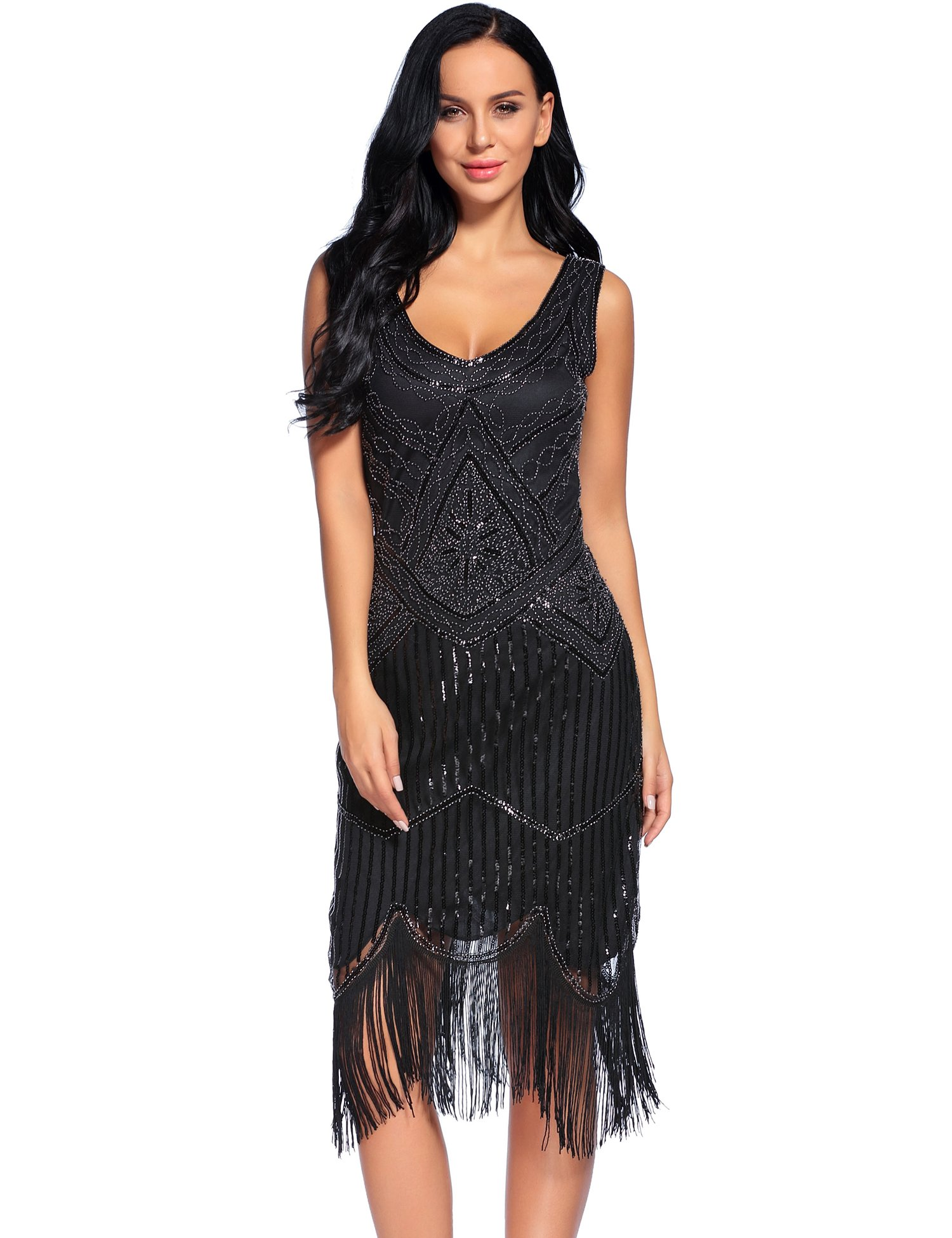 Flapper Girl Women's Vintage 1920s Sequin Beaded Tassels Hem Flapper Dress (S, Black)