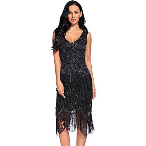 flapper girl womens vintage 1920s sequin beaded tassels hem flapper dress