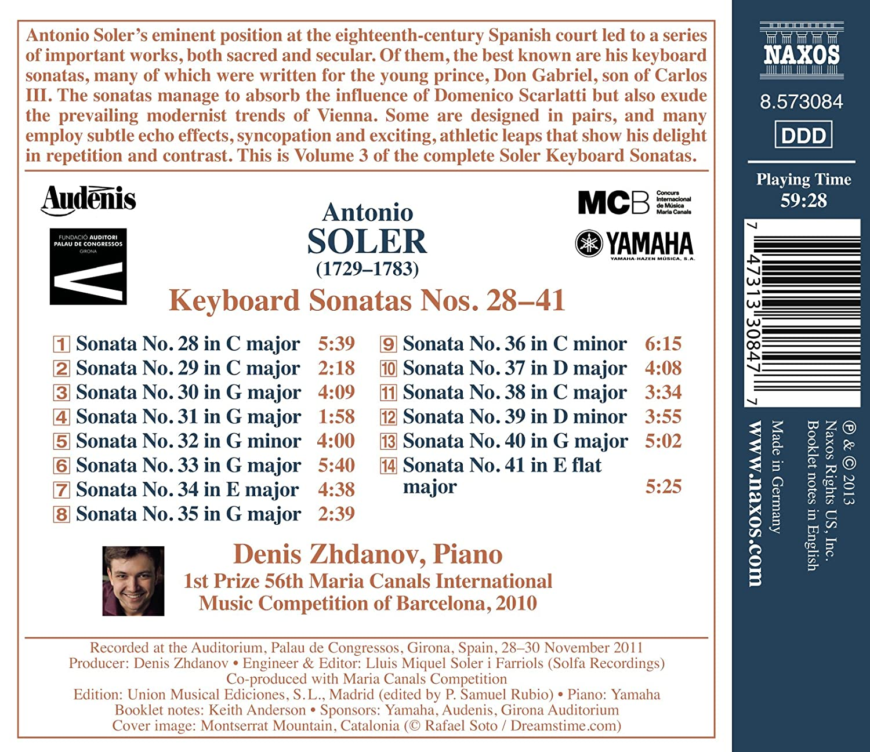 Sonates pour clavier n°28 à n°41: Antonio Soler, Denis Zhdanov: Amazon.es: Música
