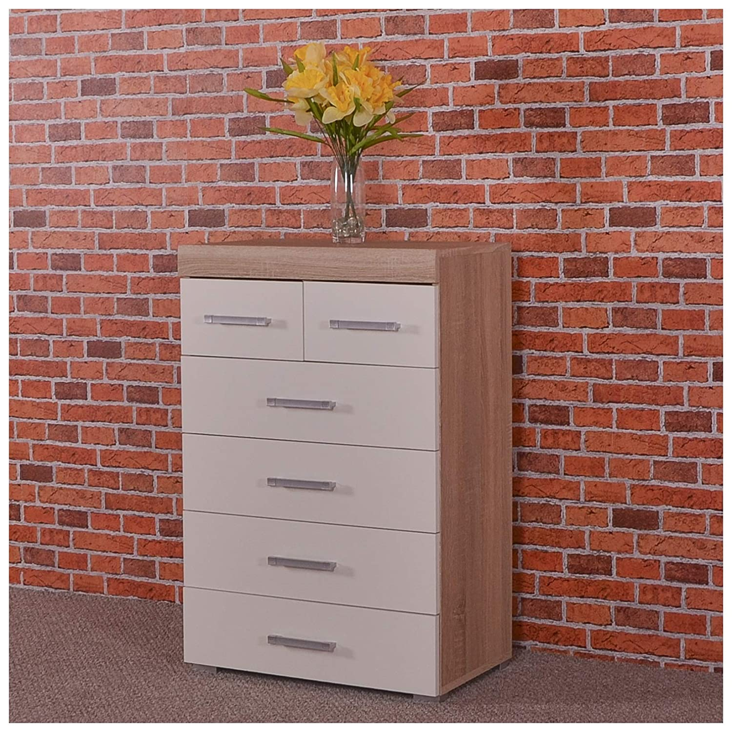 DRP Trading Chest 4+2 Drawers in White & Sonoma Oak Bedroom Furniture Modern 6 Draw