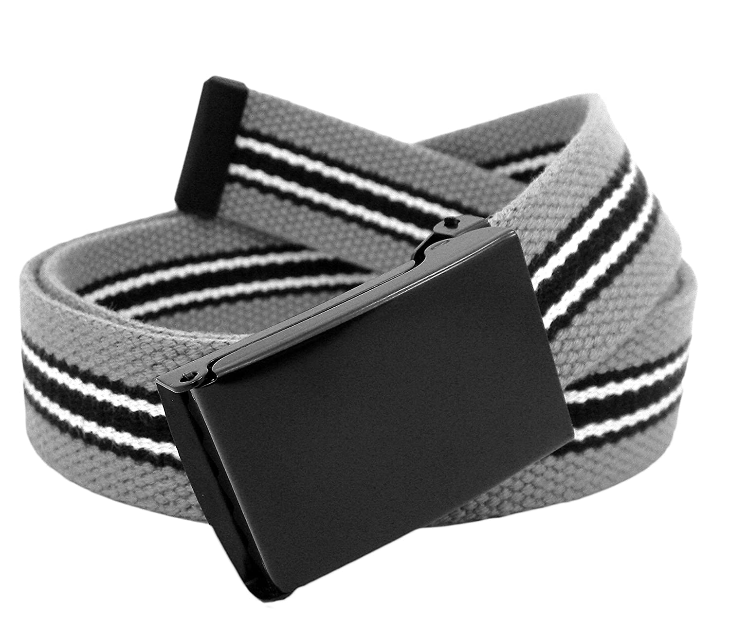 Mens Black Flip Top Military Belt Buckle with Canvas Web Belt