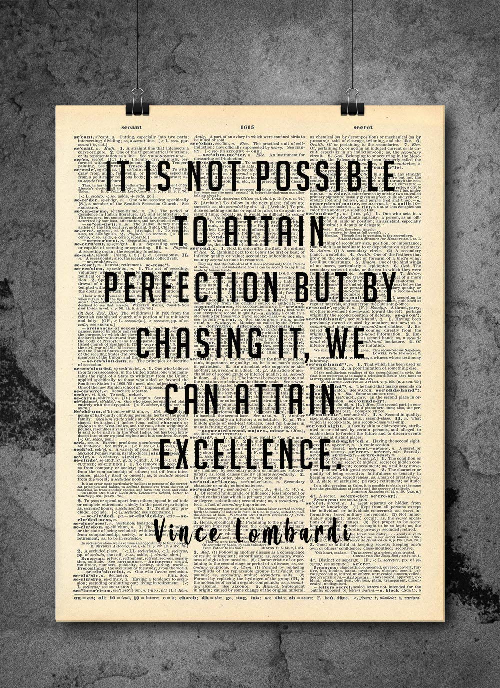 Vince Lombardi Perfection Vintage Quotes Authentic Upcycled Dictionary Art Print Home Or Office Decor Inspirational And Motivational Quote