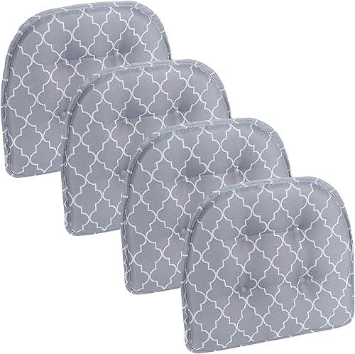 Klear Vu Trellis Tufted Non-Slip Geometric Dining Chair Cushion
