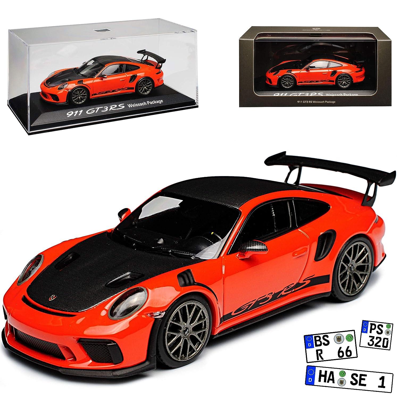 Minichamps Porsche 911 991 II GT3 RS Lava Orange Weissach Paket Modell ab 2012 Ab Facelift 2015 1/43 Modell Auto