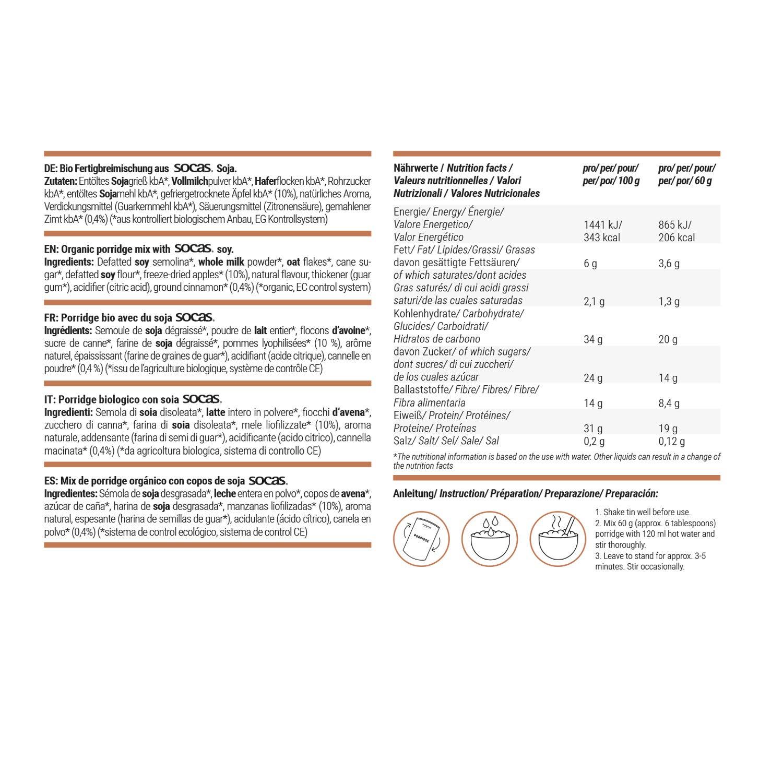 foodspring Porridge proteico, Orgánica Manzana-canela, 420g, Desayuno para estar en forma: Amazon.es: Alimentación y bebidas