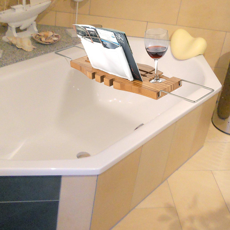 HOMFA Bambus Badewannenablage ausziehbar Edelstahl Badewannenbrett Badewannenauflage 106x22.5x2.5cm HF