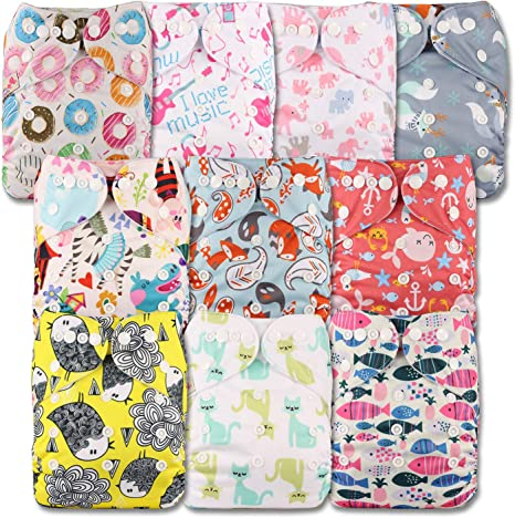 Fastener: Popper Reusable Pocket Cloth Nappy Set of 5 with 10 Microfibre Inserts Littles /& Bloomz Patterns 513