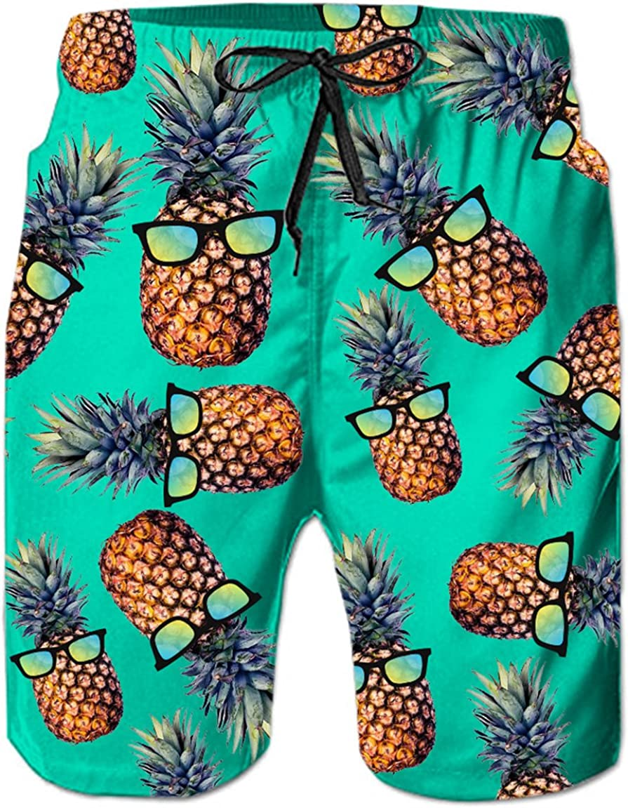 WWT Shark Mens Printed Beach Shorts with Mesh Lining//Side Pockets