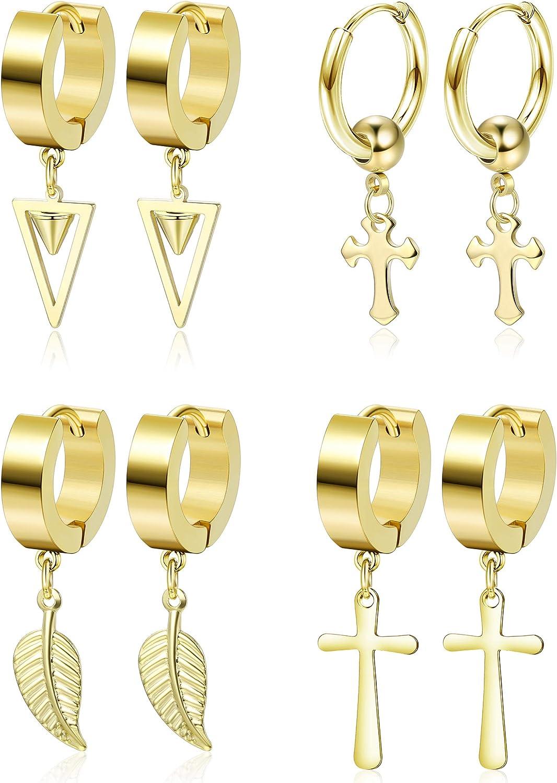 YADOCA 4 Pairs Cross Dangle Huggie Hoop Earrings Stainless Steel Feather Triangle Hinged Earrings Punk Hip-Hop Ear Piercing Earrings for Men Women