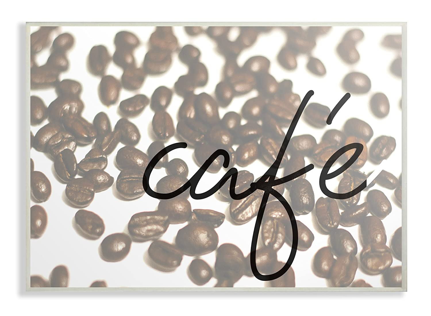 Proudly Made in USA The Stupell Home Decor Collection Caf/é Coffee Beans in Cursive Oversized Stretched Canvas Wall Art 24 x 1.5 x 30