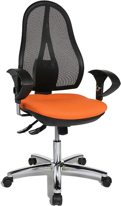 Topstar Open Point SY Deluxe, ergonomischer Syncro Bandscheiben Drehstuhl, Bürostuhl, Schreibtischstuhl, inkl. Armlehnen (höhenverstellbar), Stoff,