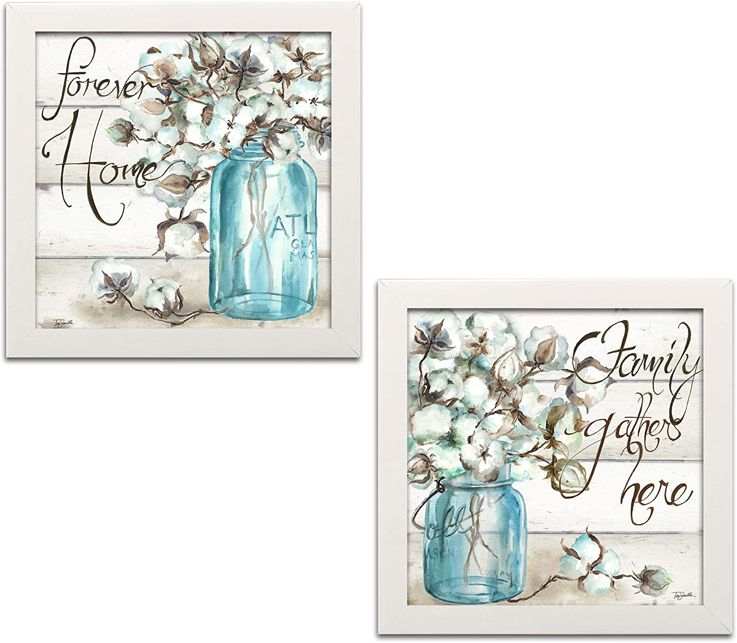 Beautiful Watercolor-Style Family Gathers Here and Forever Home Mason Jar Floral Set by TRE Sorelle Studios; Two 12x12in White Framed Prints