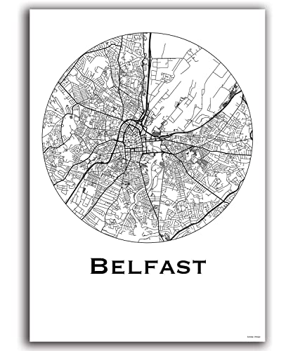Map Of Northern Ireland Cities.Poster Belfast Northern Ireland City Map Street Map Wall Decor