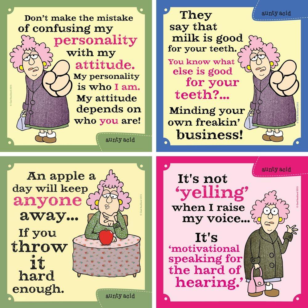 Tree-Free Greetings Hilarious Aunty Acid 4 Piece Set, Attitude Magnets, Set of 4