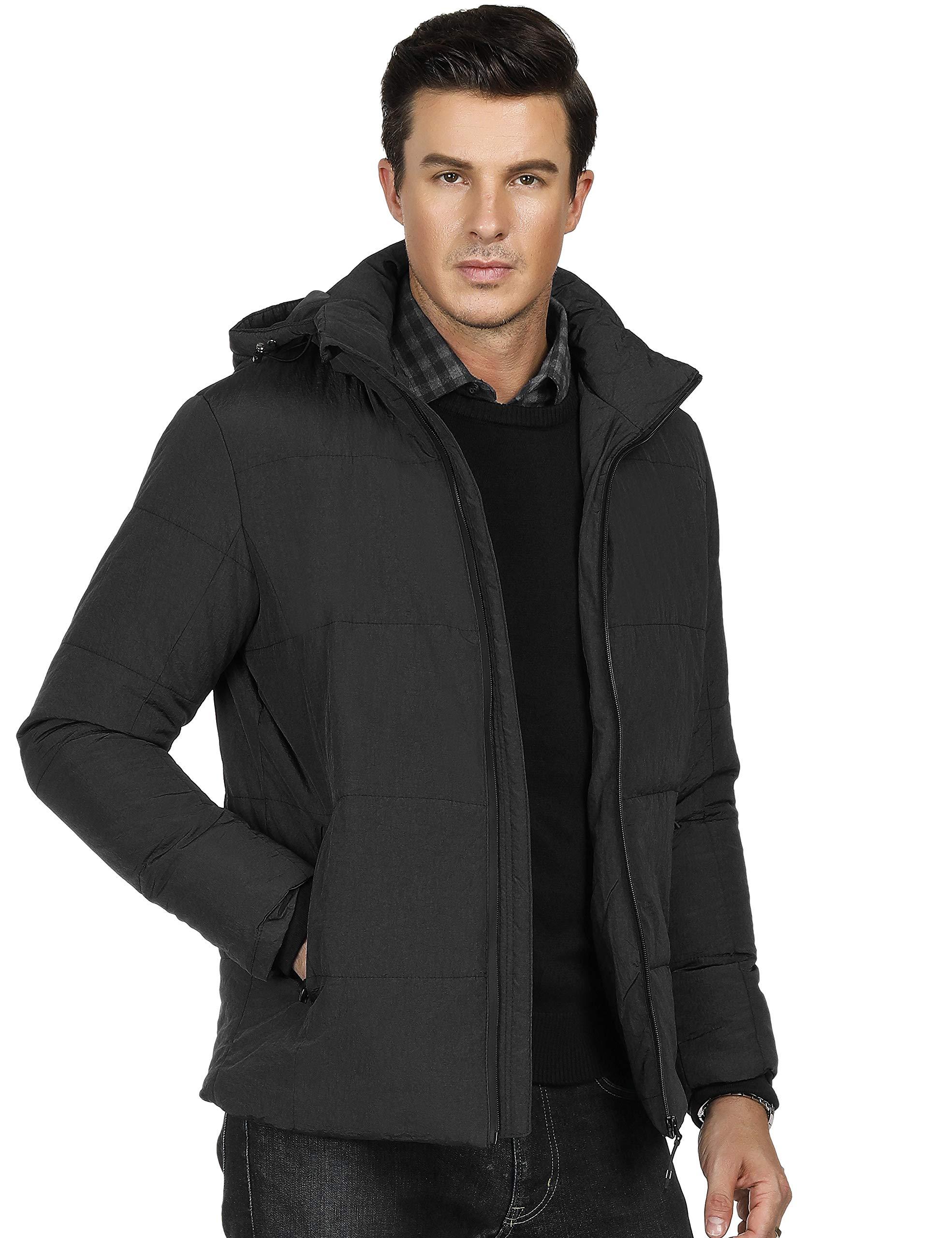 PAUL JONES Men's Classic Thermal Puffer Parka Jacket Removable Hood