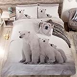 Just Contempo Parure de lit avec housse de couette à imprimé ours polaire Blanc/noir/gris, Mélange de coton, Blanc/noir/gris, King