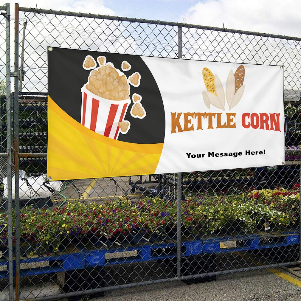 Custom Industrial Vinyl Banner Multiple Sizes Kettle Corn Style F Personalized Text Here Funny and Novelty Outdoor Weatherproof Yard Signs Yellow 6 Grommets 32x80Inches