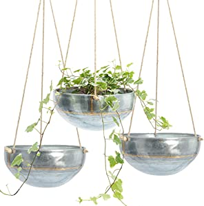 Set 3 Hanging Planter for Outdoor & Indoor Plants, Galvanized Iron Pot, Large Flower Hanger for Patio, Window, Garden, Balcony and Terrace, Modern Hang Basket with Rope, Boho Chic Metal Holder