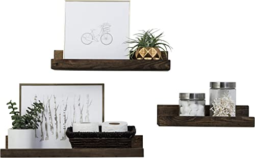 Del Hutson Designs Rustic Luxe Floating Shelves, USA Handmade, Pine Wood, Set of 3 Dark Walnut
