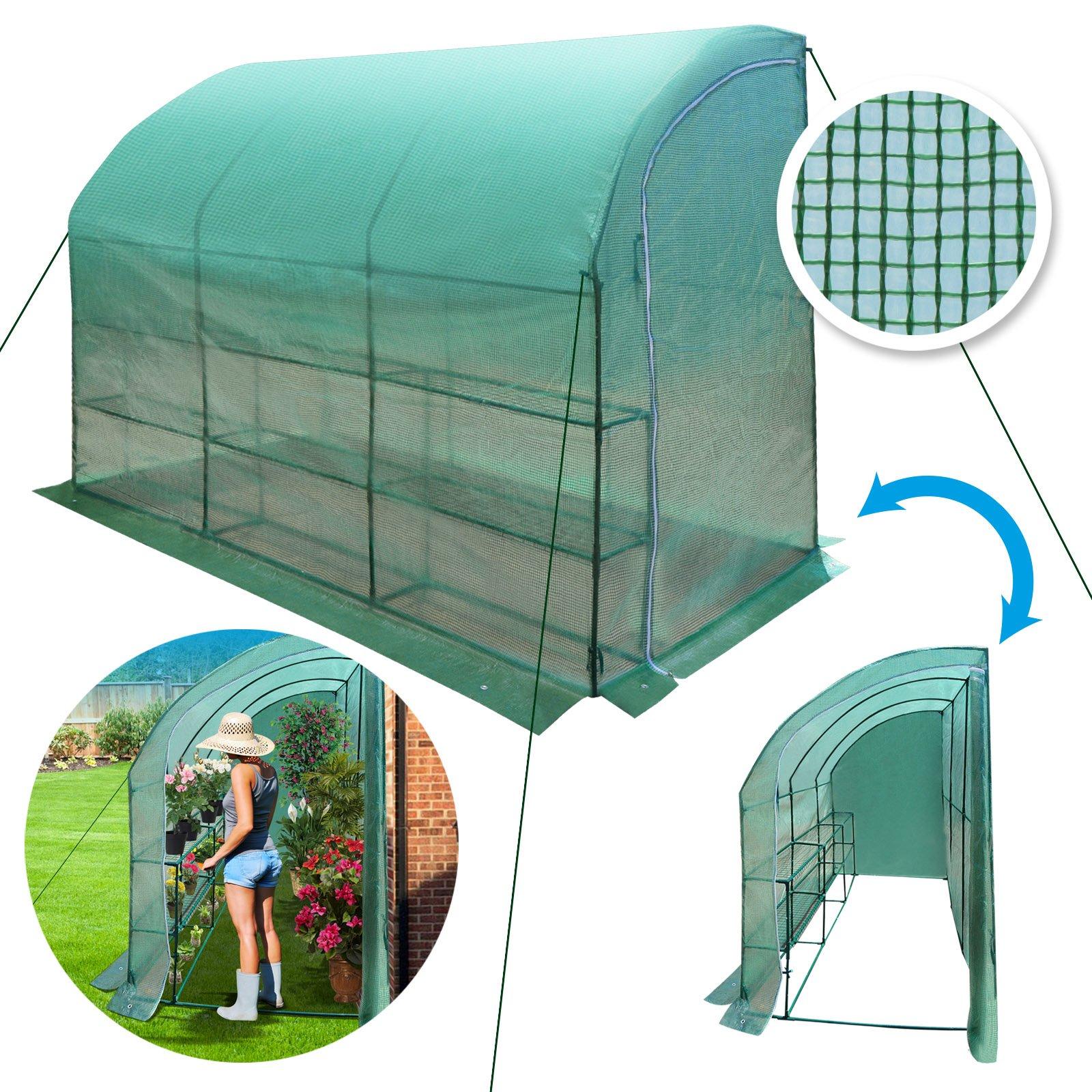 BenefitUSA ZH0124 Green New Large Walk-in Gardening Sunshade Greenhouse Outdoor, 10 x 5 x 7',