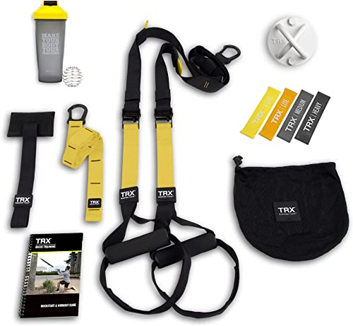 TRX All In One Home Gym Bundle Includes All-In-One Suspension Trainer, Indoor Outdoor Anchors, TRX XMount Wall Anchor, 4 Exercise Bands Shaker Bottle