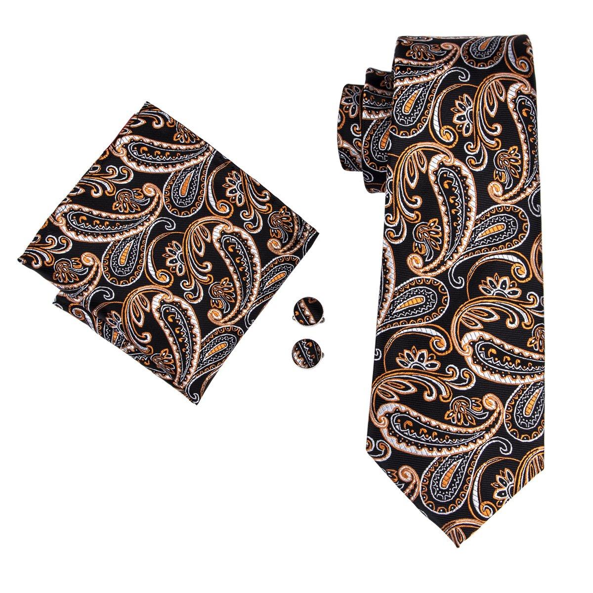 DiBanGu Tie Paisley Silk Tie and Pocket Square Cufflinks Tie Clip Set Woven Necktie for Men