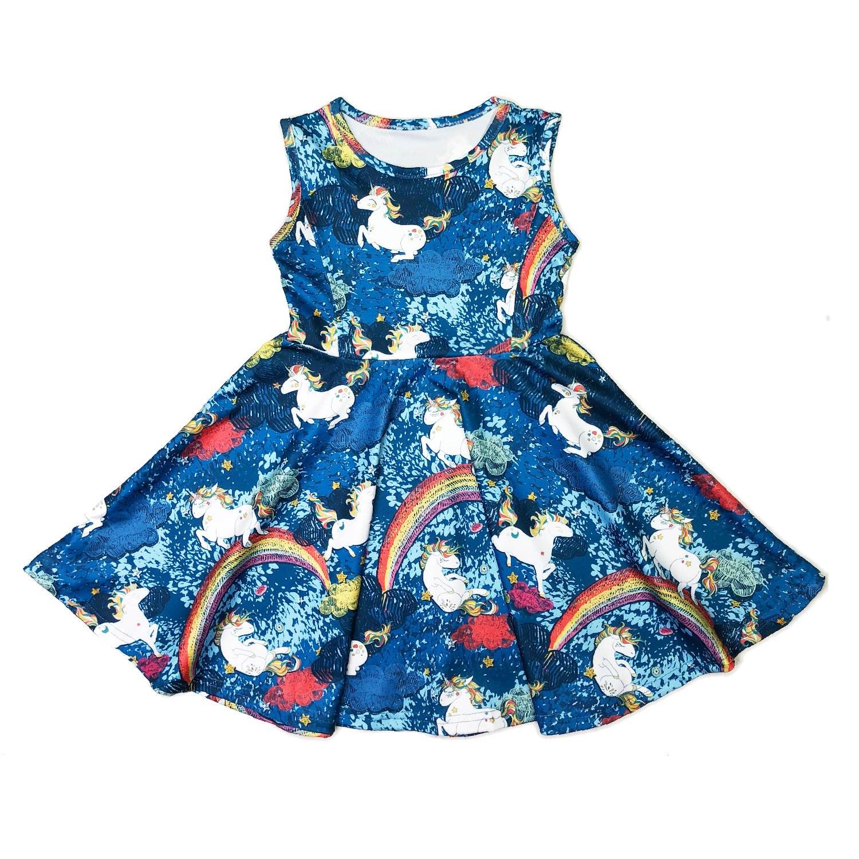Minilove Gilrs Unicorn Rainbow Dress(6,Navy) by Minilove (Image #2)