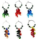 OCTOPUS & SEAHORSE WINE GLASS CHARMS (tag / markers) set of 6