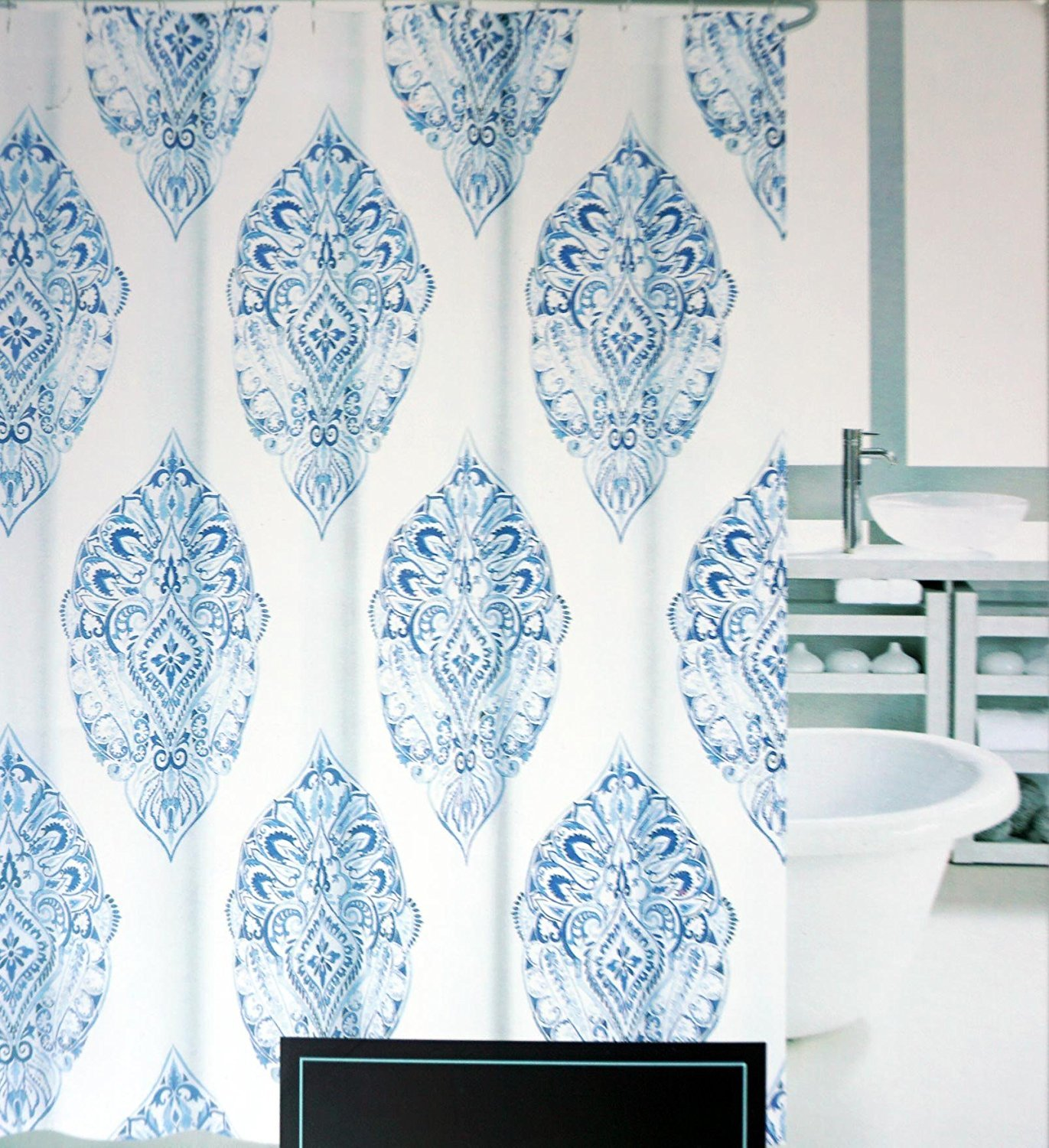 Cynthia rowley medallion shower curtain - Amazon Com Cynthia Rowley Fabric Shower Curtain Medallions In Shades Of Blue On White Agua Medallion Home Kitchen
