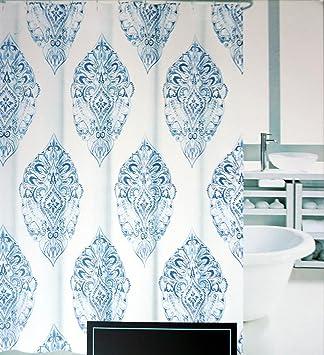 Cynthia Rowley Fabric Shower Curtain Medallions In Shades Of Blue On White     Agua Medallion  Cynthia Rowley Curtains