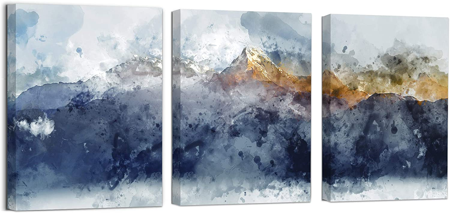 Abstract Canvas Wall Art for Living Room Navy Blue Mountains Theme Painting Picture Artworks for Wall Decor Modern Framed Wall Decoration for Bedroom Bathroom Home Office Decor Size 12x16x3 Panels
