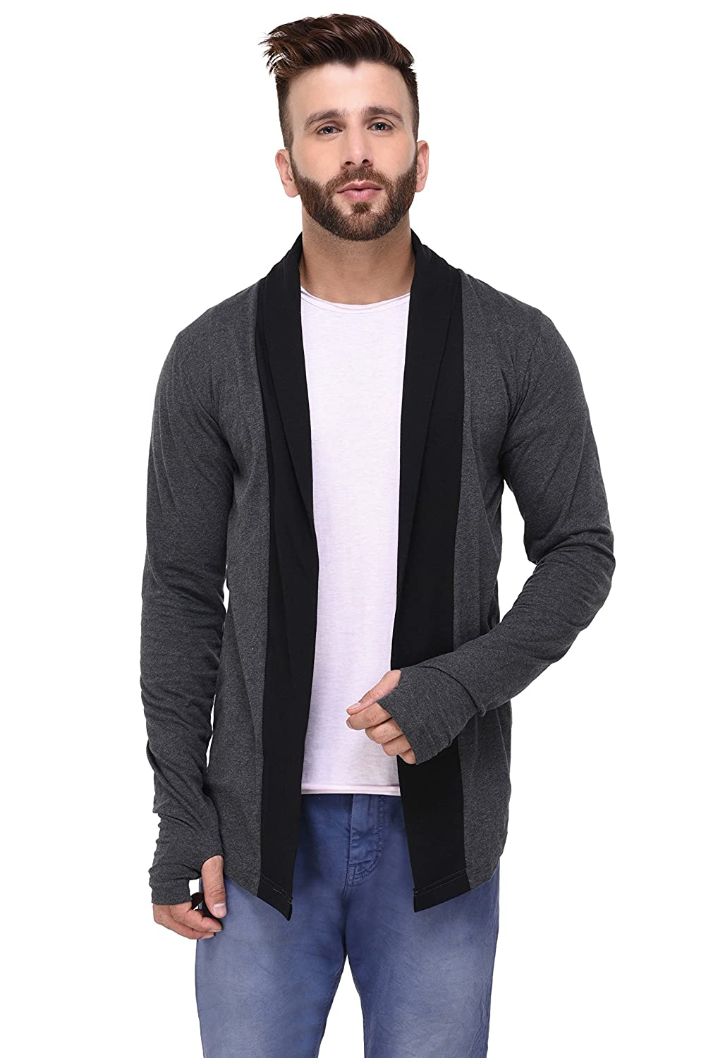 a45a9310f5 Rigo Charcoal with Thumbhole Open Long Cardigan Full Sleeve Shrug for Men