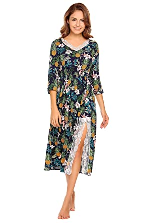 0a456d48a4c Ekouaer Women Cotton Nightdress Lace Trim Slit Half Sleeve Floral Print  Nightgown Jersey Nightshirts (Navy