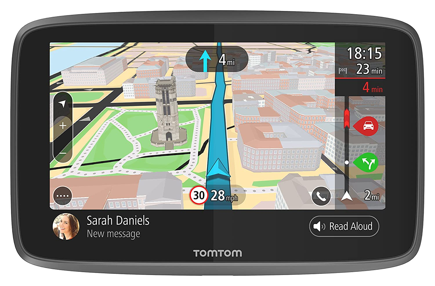 TomTom Car Sat Nav GO 6200, 6 Inch with Handsfree Calling, Siri, Google Now, Updates via WiFi, Lifetime Traffic via SIM Card and World Maps, Smartphone Messages, Capacitive Screen 4PL60