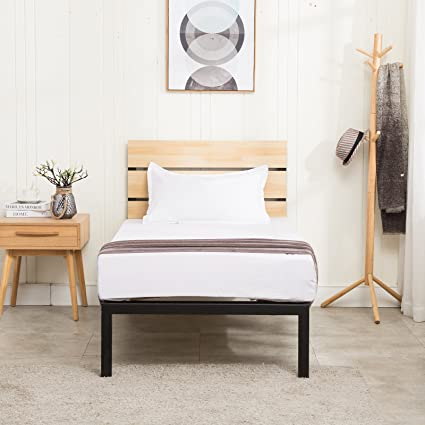 Amazon.com: Mecor Wood Metal Platform Bed Frame Twin Size,with ...