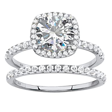 b4aa7f6cc Marquise White Cubic Zirconia Platinum over .925 Silver 2-Piece Halo Bridal  Ring Set. Roll over image to zoom in. Palm Beach Jewelry